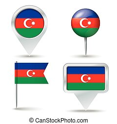Map pins with flag of Azerbaijan