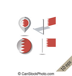 Map pins with flag of BAHRAIN