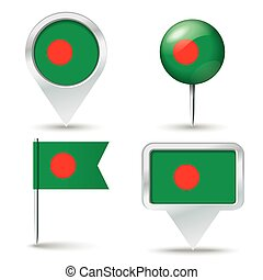 Map pins with flag of Bangladesh