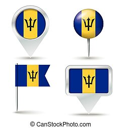 Map pins with flag of Barbados