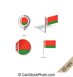 Map pins with flag of BELARUS