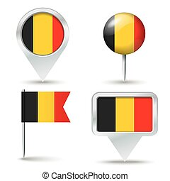 Map pins with flag of Belgium