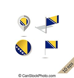 Map pins with flag of BOSNIA