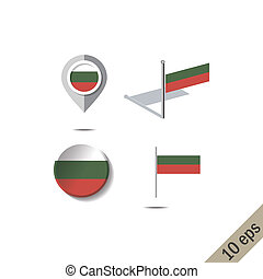 Map pins with flag of BULGARIA
