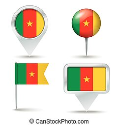 Map pins with flag of Cameroon