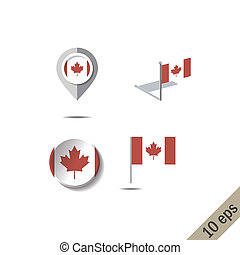 Map pins with flag of CANADA