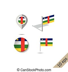 Map pins with flag of CENTRAL AFRICAN