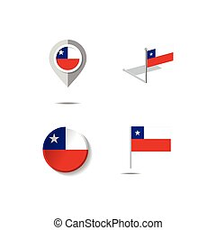 Map pins with flag of CHILE