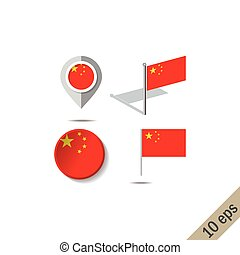 Map pins with flag of China