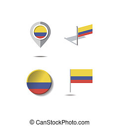 Map pins with flag of COLOMBIA