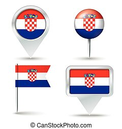 Map pins with flag of Croatia