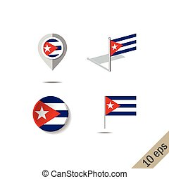 Map pins with flag of CUBA