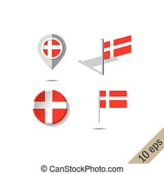 Map pins with flag of DENMARK