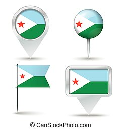Map pins with flag of Djibouti