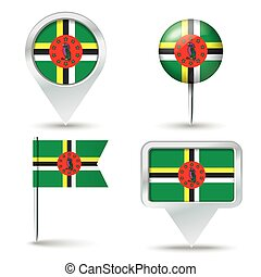 Map pins with flag of Dominica