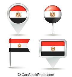 Map pins with flag of Egypt