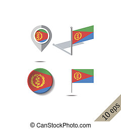 Map pins with flag of ERITREA