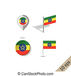 Map pins with flag of ETHIOPIA