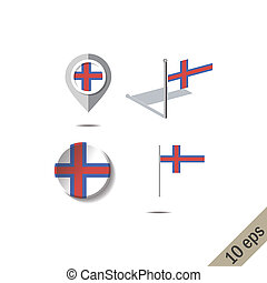 Map pins with flag of FAROE ISLANDS