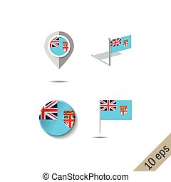 Map pins with flag of Fiji