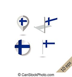 Map pins with flag of FINLAND