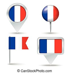 Map pins with flag of France