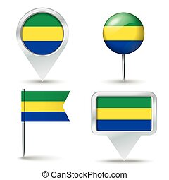 Map pins with flag of Gabon