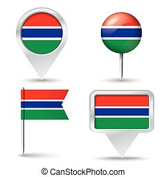 Map pins with flag of Gambia