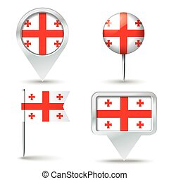 Map pins with flag of Georgia