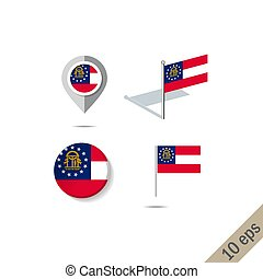 Map pins with flag of Georgia - vector illustration