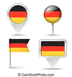 Map pins with flag of Germany