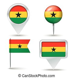 Map pins with flag of Ghana
