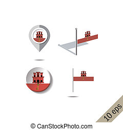 Map pins with flag of GIBRALTAR