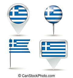 Map pins with flag of Greece