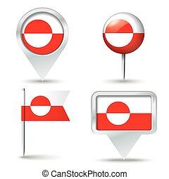 Map pins with flag of Greenland