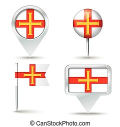 Map pins with flag of Guernsey
