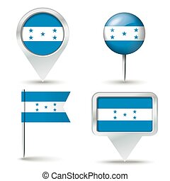 Map pins with flag of Honduras