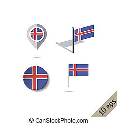 Map pins with flag of ICELAND