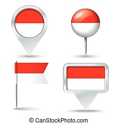 Map pins with flag of Indonesia