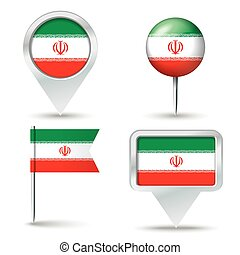 Map pins with flag of Iran