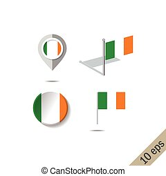 Map pins with flag of IRELAND