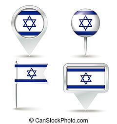 Map pins with flag of Israel