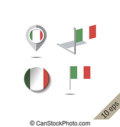 Map pins with flag of ITALY