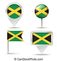 Map pins with flag of Jamaica