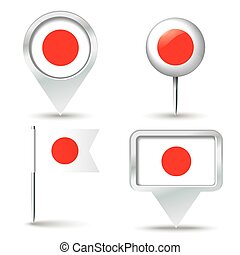 Map pins with flag of Japan