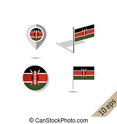Map pins with flag of KENYA