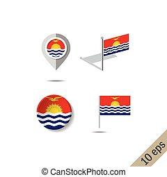 Map pins with flag of Kiribati