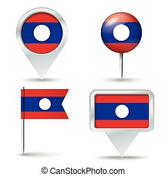 Map pins with flag of Laos