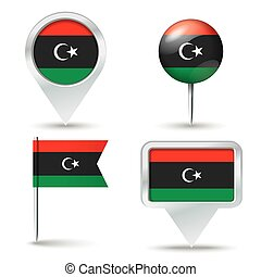 Map pins with flag of Libya