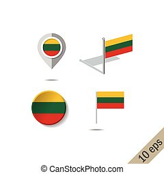 Map pins with flag of LITHUANIA